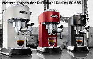 Farben der De Longhi Dedica EC 685 Espressomaschine im Test